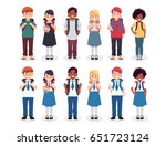 diverse set of children with... | Shutterstock .eps vector #651723124