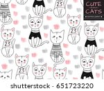 vector funny cat seamless... | Shutterstock .eps vector #651723220