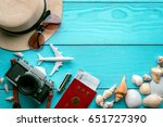 outfit of traveler on blue... | Shutterstock . vector #651727390