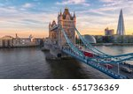 Tower Bridge in London, the UK. Sunset with beautiful clouds - stock photo