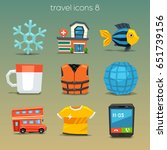 funny travel icons set 8 | Shutterstock .eps vector #651739156