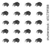 hedgehog doodle vector pattern... | Shutterstock .eps vector #651739588
