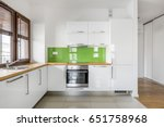 high gloss  white kitchen with... | Shutterstock . vector #651758968