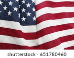 closeup of rippled american flag | Shutterstock . vector #651780460