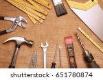assorted work tools on wood | Shutterstock . vector #651780874