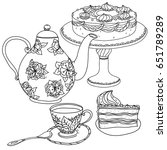 set of cake  tea pot and sweets ... | Shutterstock .eps vector #651789289