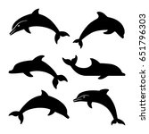 dolphin silhouettes set | Shutterstock .eps vector #651796303