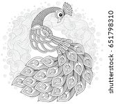 hand drawn peacock for anti... | Shutterstock .eps vector #651798310