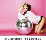 young cute disco girl on pink... | Shutterstock . vector #651804610