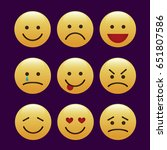 set of emoticons  icon pack ... | Shutterstock .eps vector #651807586