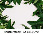 creative layout made of leaves... | Shutterstock . vector #651811090