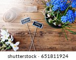 sunny flowers  signs  text... | Shutterstock . vector #651811924
