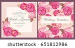 vintage wedding invitation | Shutterstock .eps vector #651812986