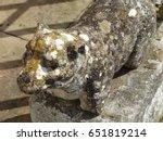 old  weather beaten statue in...   Shutterstock . vector #651819214