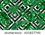 print summer exotic jungle... | Shutterstock .eps vector #651827740