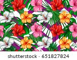print summer exotic jungle... | Shutterstock .eps vector #651827824