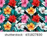 print summer exotic jungle... | Shutterstock .eps vector #651827830