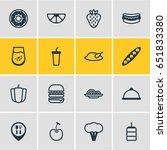 vector illustration of 16 food... | Shutterstock .eps vector #651833380