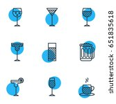 vector illustration of 9 drinks ... | Shutterstock .eps vector #651835618