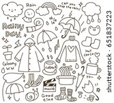 set of cute rainy day doodle   Shutterstock .eps vector #651837223