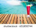 watermelon shake drink on the... | Shutterstock . vector #651850744