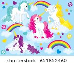 vector set of cute unicorns