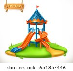 playground slide. play area for ... | Shutterstock .eps vector #651857446