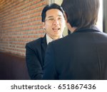 warm welcome. asian ceo  ... | Shutterstock . vector #651867436