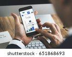 man working on digital device... | Shutterstock . vector #651868693
