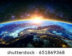 earth and galaxy. elements of... | Shutterstock . vector #651869368