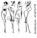set vector  fashion stylish... | Shutterstock .eps vector #651876739