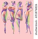 set vector  fashion stylish... | Shutterstock .eps vector #651876826