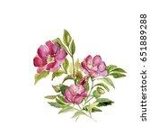 flowering branch of rose hips | Shutterstock . vector #651889288