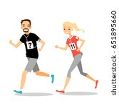 young sporty man and woman... | Shutterstock .eps vector #651895660