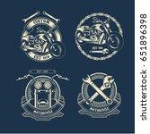 vintage motorcycle label | Shutterstock .eps vector #651896398