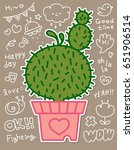 cute cactus in plant pot vector  | Shutterstock .eps vector #651906514