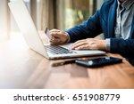 handsome businessman in suit... | Shutterstock . vector #651908779