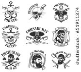 pirate emblems on white... | Shutterstock .eps vector #651911374
