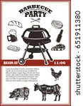 vintage bbq party poster... | Shutterstock .eps vector #651911380
