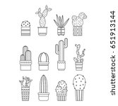 cacti and succulents. flat... | Shutterstock .eps vector #651913144