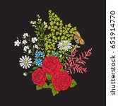 embroidery. bouquet with roses...   Shutterstock .eps vector #651914770