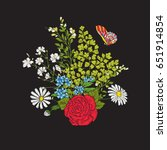embroidery. bouquet with roses... | Shutterstock .eps vector #651914854