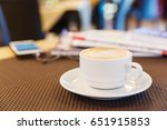 cup of cappuccino coffee on...   Shutterstock . vector #651915853