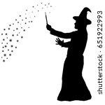 silhouette of a bearded wizard... | Shutterstock . vector #651922993