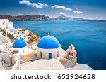 oia town on santorini island ...   Shutterstock . vector #651924628