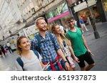 tourist friends discovering... | Shutterstock . vector #651937873