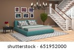 bedroom interior. 3d... | Shutterstock . vector #651952000