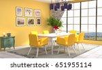interior dining area. 3d... | Shutterstock . vector #651955114