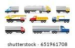 vector flat truck icon set.... | Shutterstock .eps vector #651961708