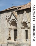 Small photo of la Collegiata (sec. XIV) antique cathedral of San Quirico d'Orcia, Siena, Italy on May 1, 2015